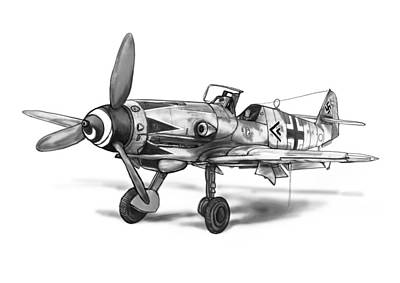 Classic Airplane In World 2 Art Drawing Poster Poster by Kim Wang