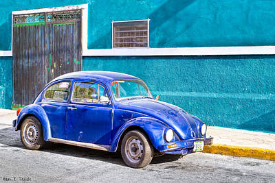 Classic Blue Volkswagen On The Streets Of Mexico Poster by Mark E Tisdale