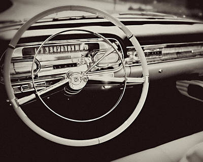 Classic Cadillac Steering Wheel And Dash Take The Wheel Poster by Lisa Russo