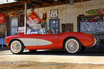 Classic Corvette On Route 66 Poster by Mike McGlothlen