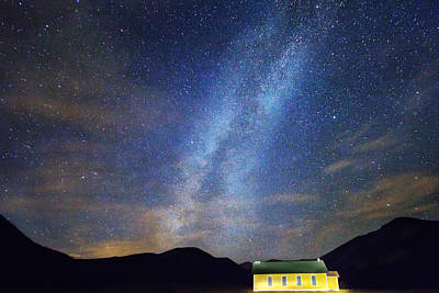 Classic Old Yellow School House Milky Way Sky Poster by James BO  Insogna