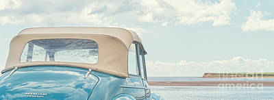 Classic Vintage Morris Minor 1000 Convertible At The Beach Poster by Edward Fielding
