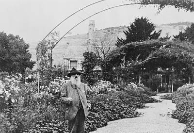 Claude Monet In His Garden At Giverny Poster by French School