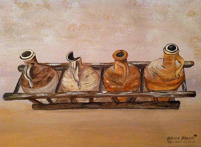 Clay Jugs In A Row Poster by Brenda Brown