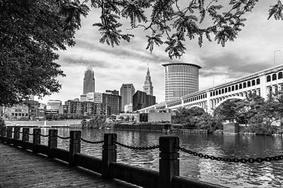 Cleveland River Cityscape Poster by Dale Kincaid