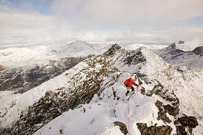 Climber On Sgurr Alasdair Poster by Ashley Cooper