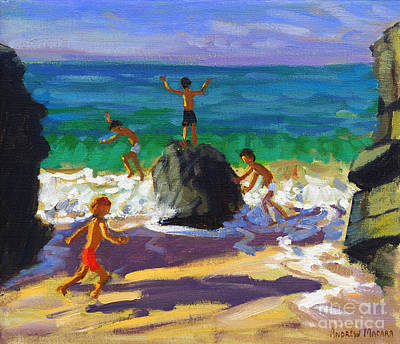 Climbing Rocks Porthmeor Beach St Ives Poster by Andrew Macara