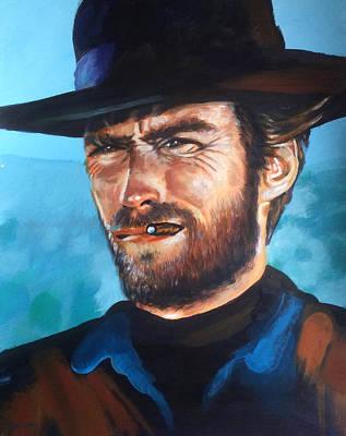 Clint Eastwood Portrait Poster by Robert Korhonen