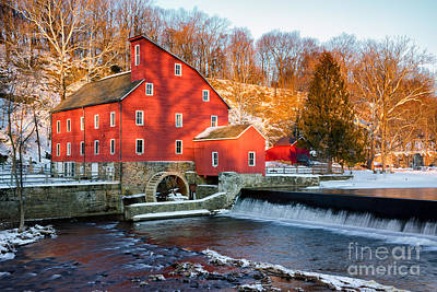 Clinton Mill In Winter Poster by Jerry Fornarotto