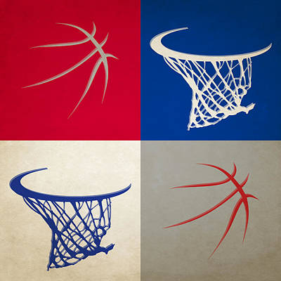Clippers Ball And Hoop Poster by Joe Hamilton
