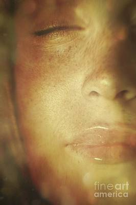 Close-up Of  Woman's Face In Dreamlike State Poster by Sandra Cunningham