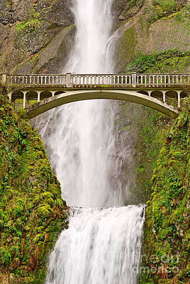 Close Up View Of Multnomah Falls In The Columbia River Gorge Of Oregon Poster by Jamie Pham