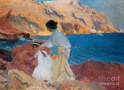 Clotilde And Elena On The Rocks Poster by Joaquin Sorolla y Bastida