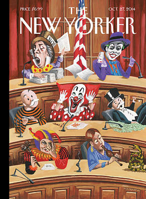 Clowns, Fools And Jokers Preside Over Congress Poster by Mark Ulriksen