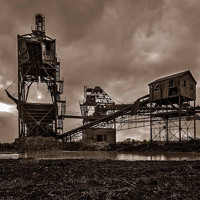 Coal Conveyor And Loader - Bw Poster by Chris Bordeleau