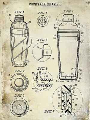 Cocktail Shaker Patent Drawing Poster by Jon Neidert
