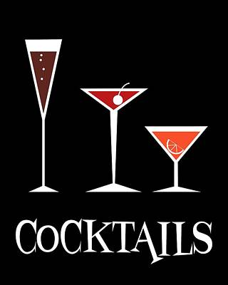 Cocktails Poster by Donna Mibus