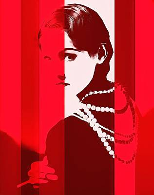 Coco Chanel Red Stripes Poster by Dan Sproul