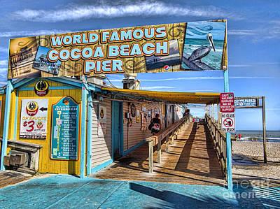Cocoa Beach Pier In Florida Poster by David Smith