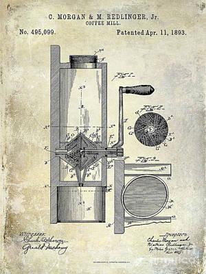 Coffee Mill Patent 1893 Poster by Jon Neidert
