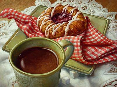 Coffee And Danish Poster by Mia Tavonatti