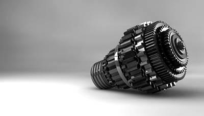 Cogwheel Lightbulb Shape Concept Poster by Allan Swart
