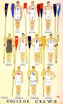 College Rowing Crews 1908 Poster by Padre Art