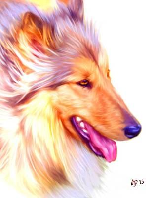 Collie Digital Dog Art Poster by Iain McDonald