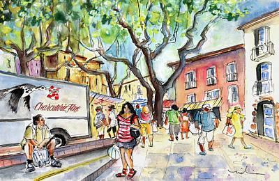 Collioure Market 01 Poster by Miki De Goodaboom
