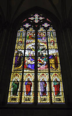 Cologne Cathedral Stained Glass Window Of The Lamentation Poster by Teresa Mucha