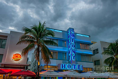 Colony And Johnny Rockets Art Deco District Sobe Miami  Poster by Ian Monk