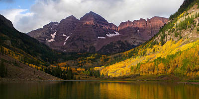 Colorado 14ers The Maroon Bells Poster by Aaron Spong