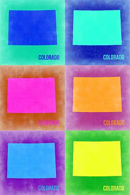 Colorado Pop Art Map 3 Poster by Naxart Studio