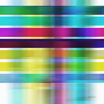 Colorful Abstract Stripes On Square By Ann Powell Poster by Ann Powell