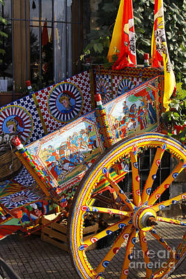 Colorful Decorated Horse Carriage Cefalu Palermo Sicily Italy Poster by Stefano Senise