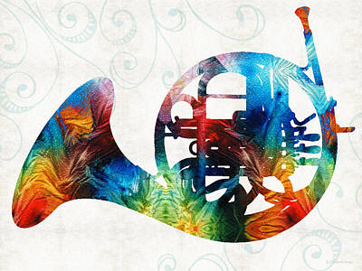 Colorful French Horn - Color Fusion By Sharon Cummings Poster by Sharon Cummings