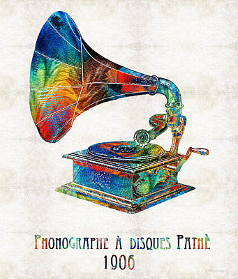 Colorful Phonograph Art By Sharon Cummings Poster by Sharon Cummings
