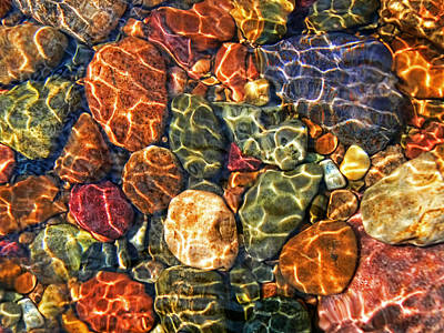 Colorful Rocks In Stream Bed Montana Poster by Jennie Marie Schell