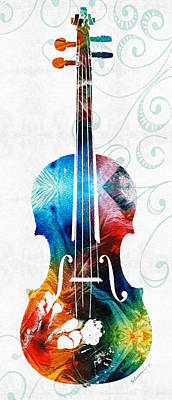 Colorful Violin Art By Sharon Cummings Poster by Sharon Cummings
