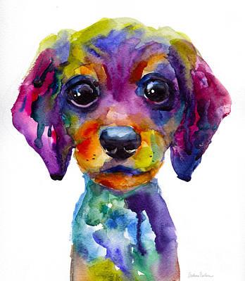 Colorful Whimsical Daschund Dog Puppy Art Poster by Svetlana Novikova