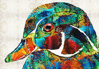 Colorful Wood Duck Art By Sharon Cummings Poster by Sharon Cummings