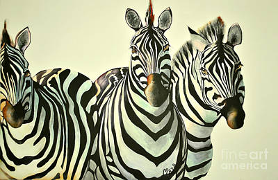 Rainbow Body Poster featuring the painting Colorful Zebras Painting by Maja Sokolowska