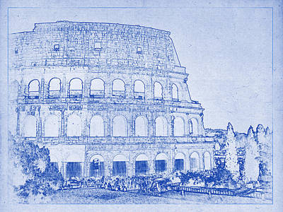 Colosseum Of Rome Blueprint Poster by Justin Woodhouse
