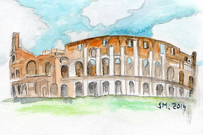 Colosseum Watercolour Sketch Poster by Sophie McAulay
