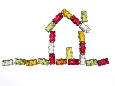 Lebensmittel Poster featuring the photograph Coloured Jellybabies Formed As A House by Juergen Ritterbach