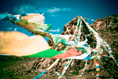 Colourfull Praying Buddhist Flags Lungta And Mountain At Background Poster by Raimond Klavins