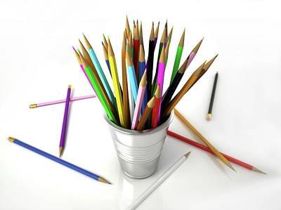 Colouring Pencils In A Pot Poster by Leonello Calvetti