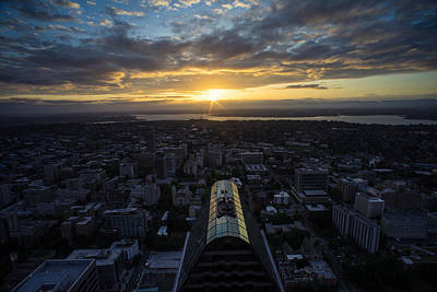 Columbia Center Sunrise Poster by Mike Reid