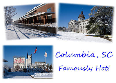 Columbia South Carolina Famously Hot Blue White Poster by Joseph C Hinson Photography