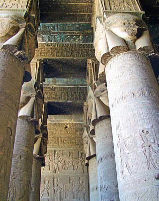 Columns In Temple Of Hathor Near Dendera In Qena-egypt Poster by Ruth Hager